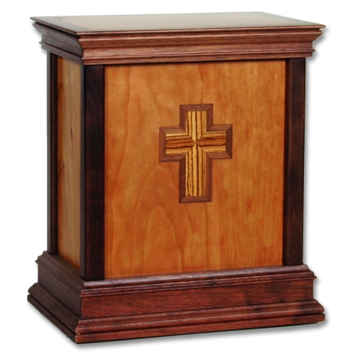 Cross Contemporary Wood Cremation Urn
