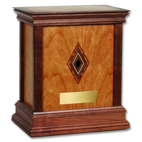 Diamond Contemporary Wood Cremation Urn