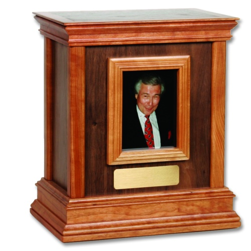 Framed Contemporary Wood Cremation Urn