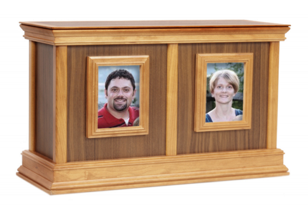 Framed Contemporary Companion Wood Cremation Urn