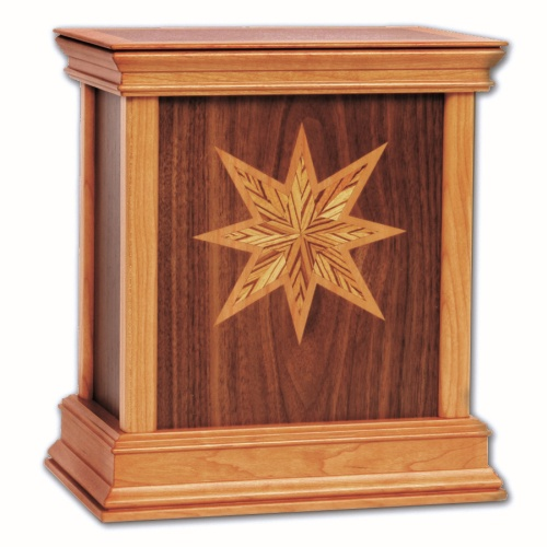 Star Contemporary Wood Cremation Urn