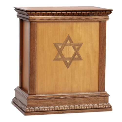 Star of David Classic Wood Cremation Urn