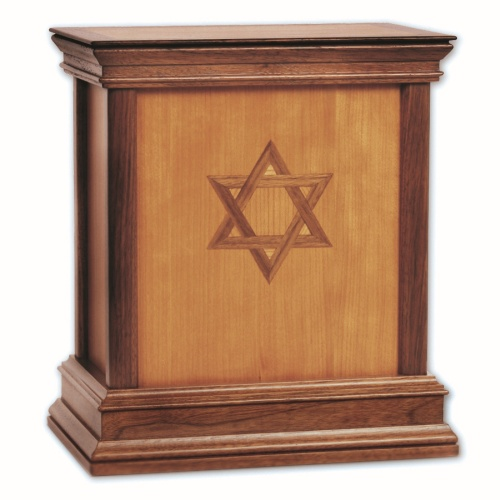 Star of David Contemporary Wood Cremation Urn